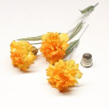 Pack of 3 Vintage Tonal Yellow Carnation Flowers